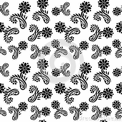 Vector Seamless Black And White Flower Pattern Background