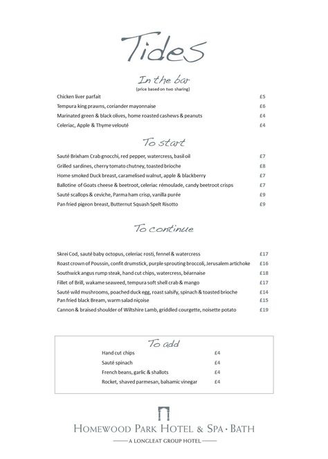 Our Sample Menu From Homewoodpark New Restaurant Tides In
