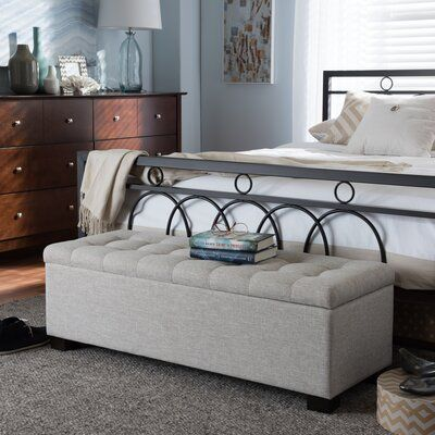 Latitude Run Kareem Upholstered Storage Bench Upholstery Beige In