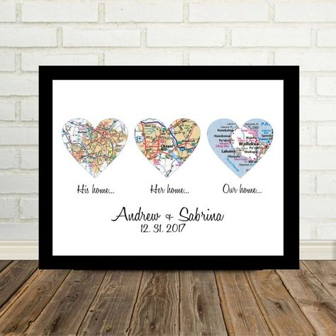 Wedding Gift Framed Art Heart Map Personalized Wedding Gift for Couple Unique Wedding Gift Ideas Map
