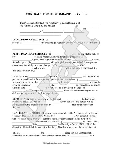 Photography Contracts Set - Photography Business Forms - Portrait - cancellation policy template