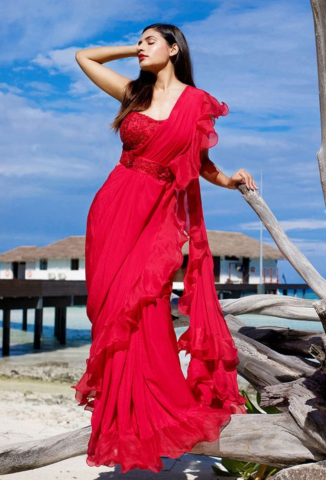 Red Bright Ready Pleated Saree With Ruffled Pallo Paired
