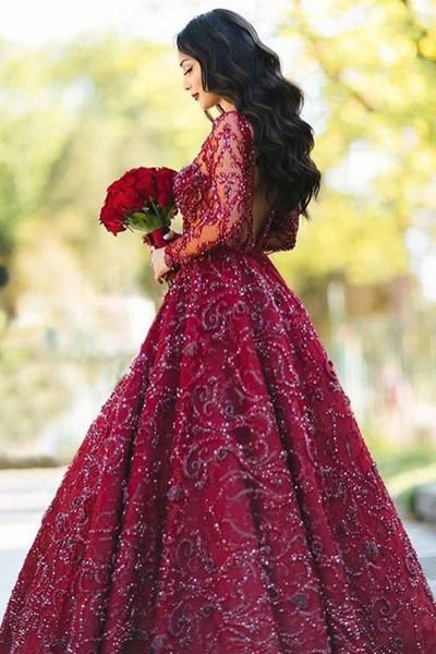 A-Line Crew Sweep Train Long Sleeves Dark Red Satin Prom Dress with Appliques Beading