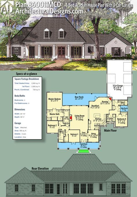 Plan 860011mcd 4 Bed Acadian House Plan With 3 Car Garage Acadian House Plans House Plans Dream House Plans