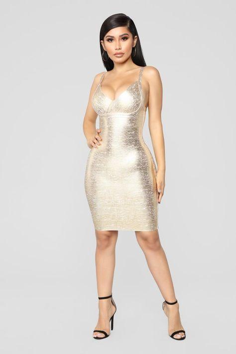 Metallic Soul Mini Dress - Gold