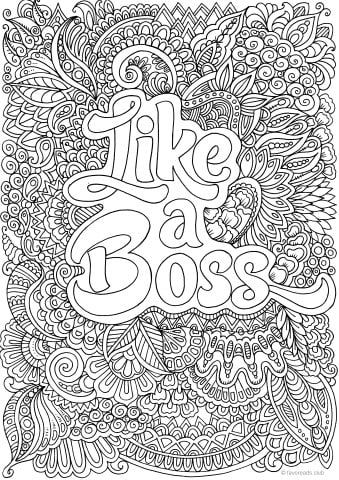 Like A Boss Printable Adult Coloring Pages Coloring Pages