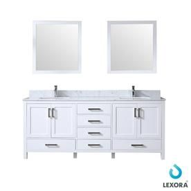 Lexora Jacques 80 In White Double Sink Bathroom Vanity With White