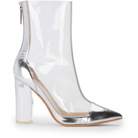 LUCITE BOOTIE ($185) ❤ liked on Polyvore featuring shoes, boots, ankle booties, synthetic boots, metallic boots, high heel ankle boots, metallic ankle boots and short boots