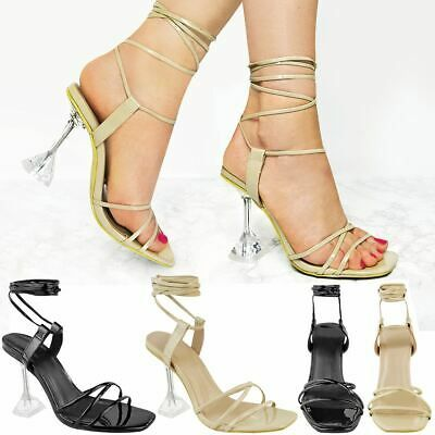 Womens Ladies Clear Perspex Barely There High Heel Party Sandals Strappy Size