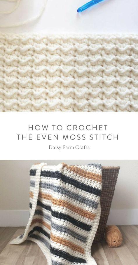 How to Crochet the Even Moss Stitch | Crochet | Pinterest ...