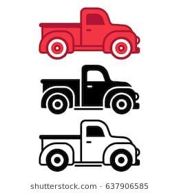 Classic Retro Pickup Truck Icon Set Simple Flat Cartoon Style