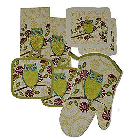 5 Pieces Cotton Kitchen Linen Set Oven Mitt Kitchen Towels Pot