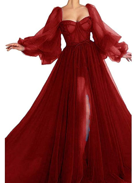 New Xijun Long Puffy Sleeve Prom Dress Long Split Evening Gowns Birthday Party Dresses online – Alltoclothing – SamanthaLayla Pretty Prom Dresses, Prom Dresses With Sleeves, Ball Dresses, Elegant Dresses, Cute Dresses, Formal Dresses, Puffy Dresses, Women's Dresses, Evening Gowns With Sleeves