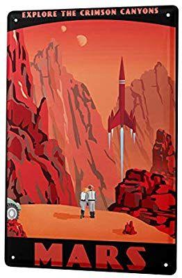 MARS NASA TRAVEL METAL TIN SIGN POSTER WALL PLAQUE
