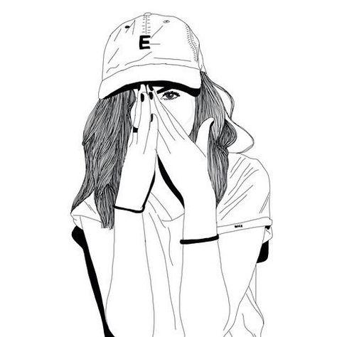 Art Outline Fille Noir Et Blanc Fille Tumblr Casquette