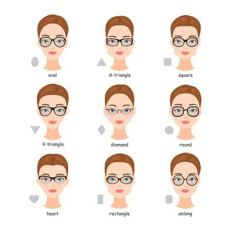 Set Of Various Types Of Spectacle Eyeglasses Faces Shapes To Glasses For Oval Faces Glasses For Round Faces Glasses For Face Shape