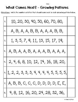 Growing Patterns What Comes Next Worksheet Lesson Plan