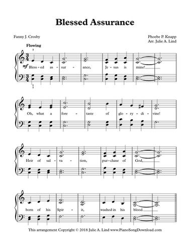 Blessed Assurance Free Piano Hymn Arrangement With Words With