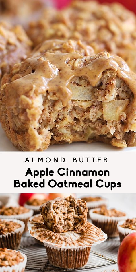 Easy apple cinnamon baked oatmeal cups made with applesauce, fresh apples, oats, maple syrup and almond butter for a boost of protein + flavor. Freezer-friendly, great for kids or meal prep! #mealprep #freezerfriendly #oatmeal #oatmealcups #almondbutter #applerecipe #apples #kidfriendly #glutenfree