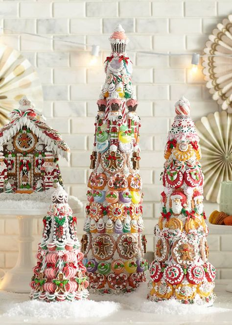 Gingerbread Christmas Decor, Gingerbread House Designs, Cone Christmas Trees, Candy Christmas Decorations, Christmas Tree Toppers, Holiday Decor, Gingerbread Houses, Jeweled Christmas Trees, Colorful Christmas Tree