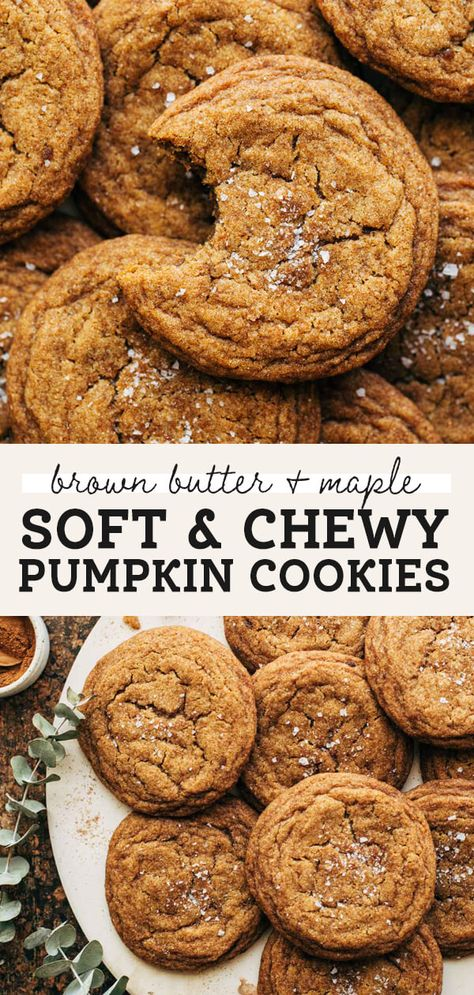 Unlike most pumpkin cookies, these are soft, dense, chewy, and baked with brown butter and maple. They're packed with so much flavor but are so easy to make! Zero chill time required. #pumpkincookies #pumpkinspice #cookies #brownbutter #butternutbakery   butternutbakeryblog.com