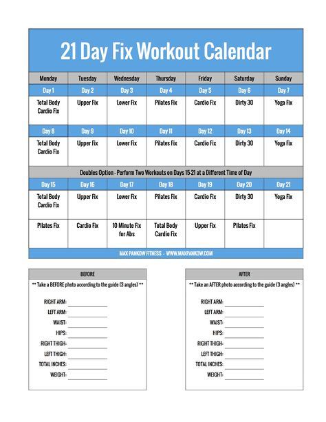 Day Fix Workout Schedule  Portion Control Diet Sheets