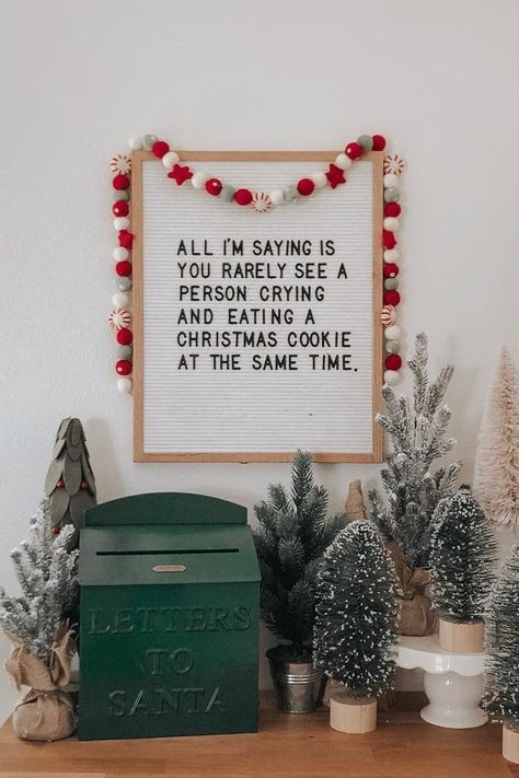 All I'm saying is you rarely see a person crying and eating a cookie at the same time. Check out our favorite funny Christmas letter board ideas here. funny The 13 Funny Christmas Letter Board Quotes We Can't Wait to Use Christmas Time Is Here, Merry Little Christmas, Christmas Signs, Christmas Humor, All Things Christmas, Holiday Fun, Christmas Holidays, Christmas Decorations, Funny Christmas Sayings