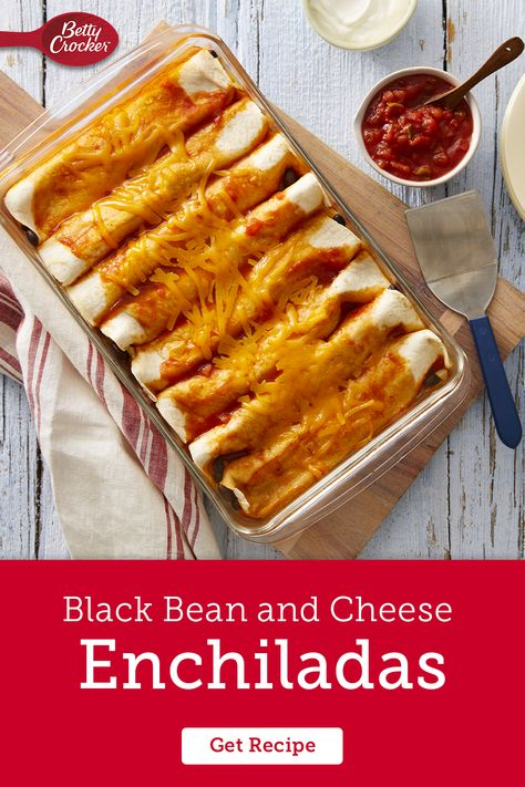 These cheesy black bean enchiladas are an easy vegetarian meal you can whip up any night of the week. Pin this one for your weekly rotation.