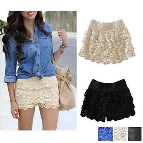 New Fashion Girl Women Ladies Cute Crochet Tiered Lace Shorts Skirt Pants