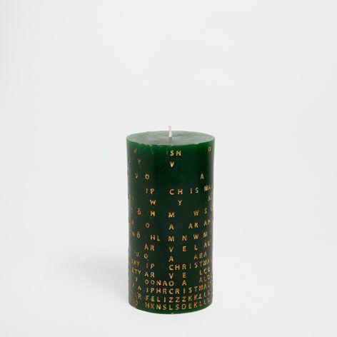 Zylindrische Kerze Mit Buchstaben Kerzen Dekoration Zara