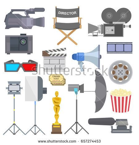 Cinema Movie Making Tv Show Tools Equipment Symbols Icons Vector Set Illustration How To Draw Hands Cinema Movies Film