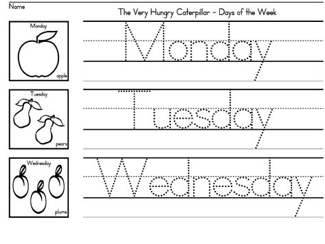 """""""The Very Hungry Caterpillar"""" Days of the Week worksheets for preschool, K and early grades.  Also useful to address nutrition!"""