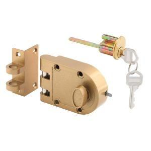 Single Cylinder Painted Brass Jimmy Resistant Entry Door Deadlock Defender Security Brass Color Deadbolt