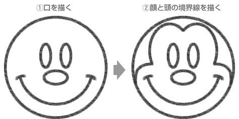 ミニーマウスのイラストの簡単な書き方 簡単イラスト ミッキー