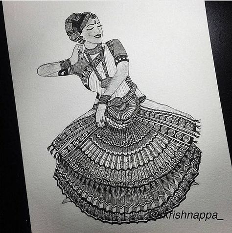 Zentangle Inspired Bharatanatyam Dancer Art Print Etsy Dancers Art Indian Art Paintings Mandala Design Art