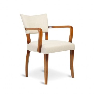 Molina Dining Chair With Arms Sandstone Linen Dark Wood Dining