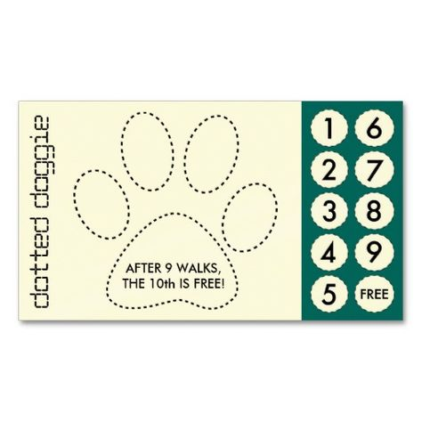dog walker cut out punch cards business card template