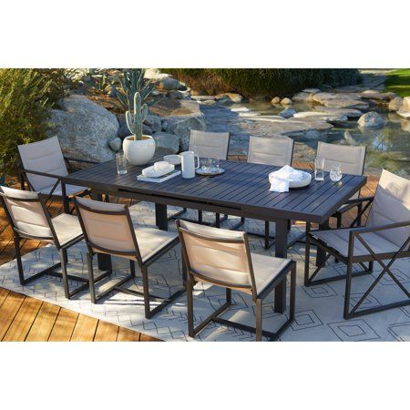 Coral Coast Carano Aluminum Extension Outdoor Dining Table Outdoor Dining Furniture Outdoor Dining Set Affordable Outdoor Furniture