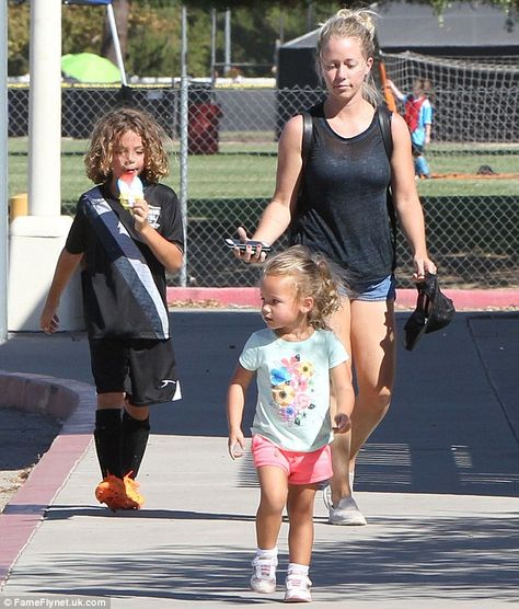 Me and my babies: On Saturday, Kendra Wilkinson took her son Hank to play soccer in Los Angeles and brought along his younger sister Alijah