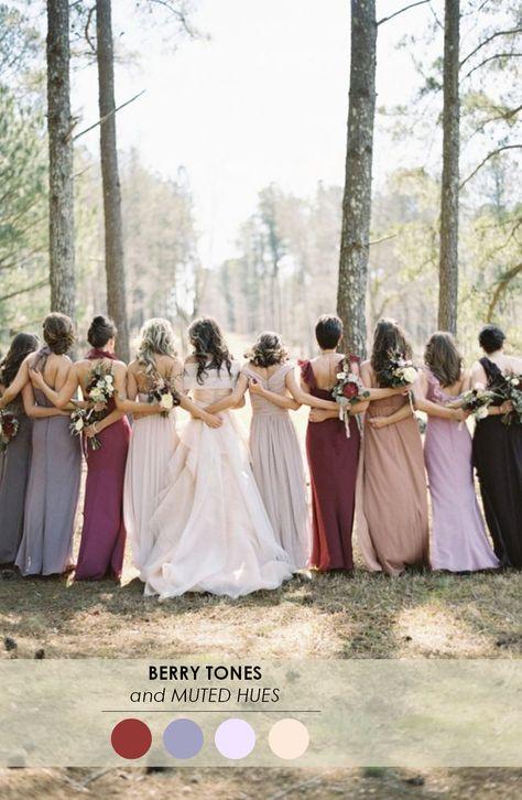 beautiful bridesmaid palette- kinda like the mismatched fall colors