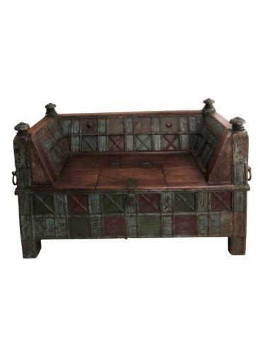 Bench Handcarved Teak Wood Sofa Chest