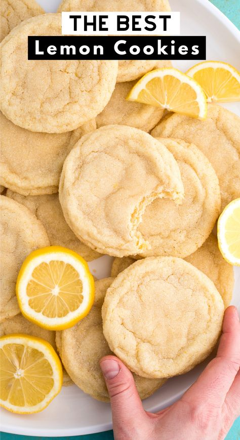 Soft and chewy Lemon Cookies are a crowd favorite cookie that you can make anytime of the year. These lemon sugar cookies are thick & chewy and easy to freeze. Easy to make in one bowl with fresh lemon and everyday ingredients. #lemoncookies #sugarcookies #cookies