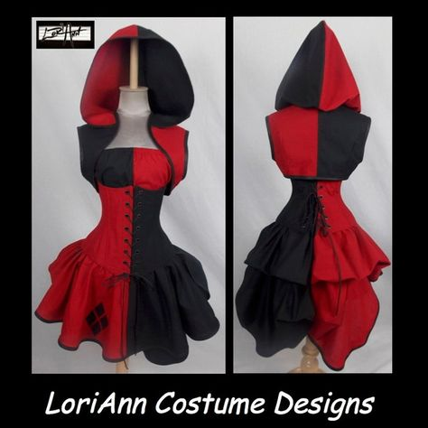 Harley Quinn Joker Villain Style Bustle Costume by by