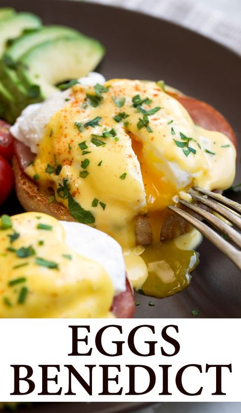 Eggs Benedict Recipe {with the Best Hollandaise Sauce!} - Cooking Classy - Eggs Benedict – the perfect eggs Benedict recipe! You get a golden brown, toasted English muffin - Breakfast Dishes, Breakfast Time, Best Breakfast, Breakfast Egg Recipes, Breakfast Ideas With Eggs, English Muffin Breakfast, Delicious Breakfast Recipes, Breakfast Casserole, Bean Recipes