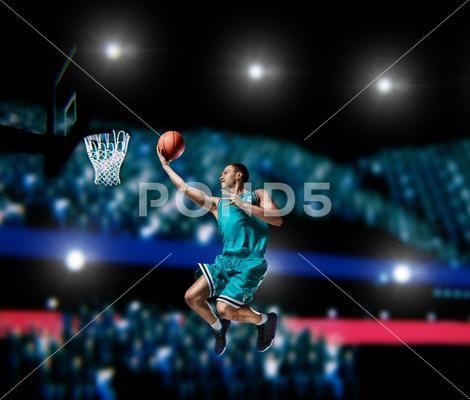 Basketball Player Making Slam Dunk On Basketball Arena Stock Image 91669206 Slam Dunk Basketball Players Slam Basketball