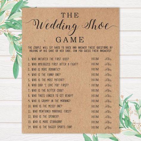 The Wedding Shoe Game . Bridal Shower Games . Wedding Shower Games . Bridal Shower Print . Bridal Sh