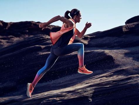 English heptathlon athlete Katarina Johnson-Thompson wearing Nike Gradient Women's Running Vest, $110; Nike Dri-fit Cool Breeze Strappy Women's Running Tank Top, $35; Nike Pro Rival Women's Sports Bra, Nike Forever Gradient Women's Running Tights, $150; and Nike Free 3.0 Flyknit Women's Running Shoe, $140