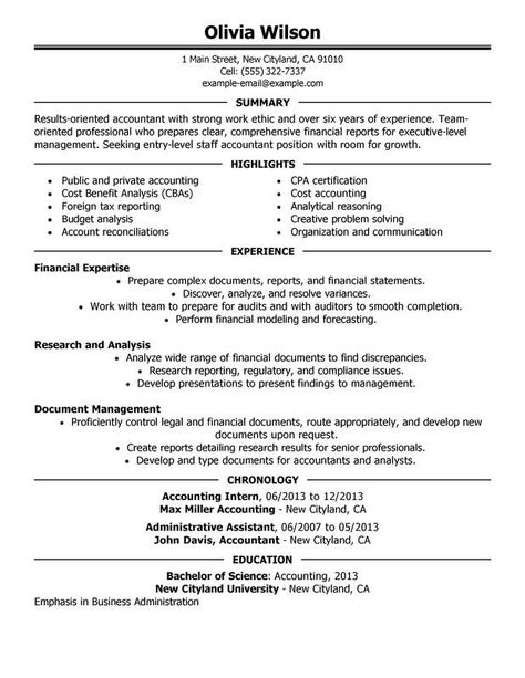 Resume Format Accountant Accountant Format Resume