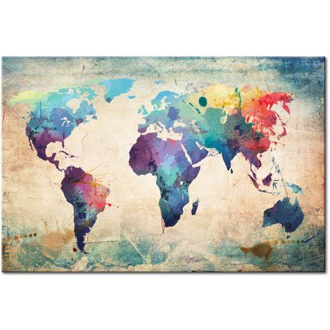 World Map Watercolor by Michael Tompsett Watercolor, Fancy and Artsy - best of world map fabric etsy