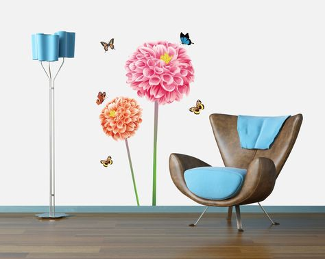 modern wall decals - YYone Two Tall Red Blossoming Flowers with Flying Butterflies Wall Art Mural Decor Decal Wall Sticker -